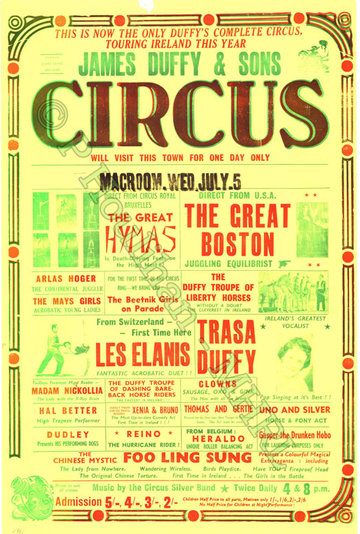 Date: July 5th (handwritten on back 1961 tour) Title: James Duffys & Sons Circus Location: Macroom, Co Cork Dimensions: 76cms x 51cms Accession No: PH003